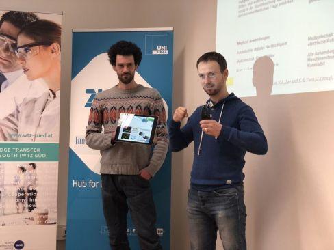 Gerhard Prossliner und Christian Hill Vorstellung der Technologie - TU Graz/ Med Uni Graz